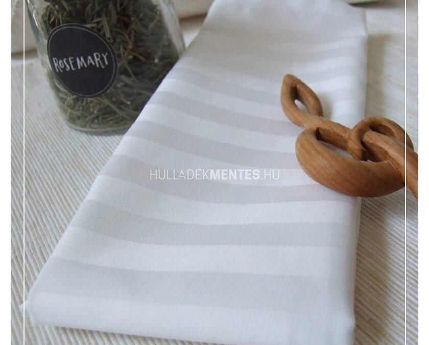 BlessYou elegáns fehér csíkos textilszalvéta szett (damaszt)
