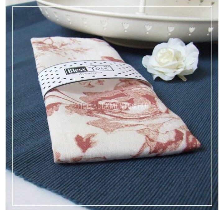 BlessYou rózsás textilszalvéta szett (lenvászon)