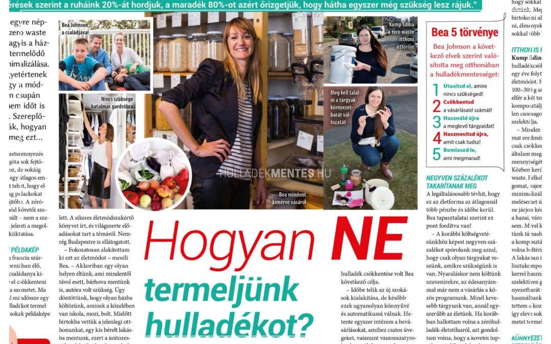 Interjú a Fanny magazinban: Hogyan NE termeljünk hulladékot?